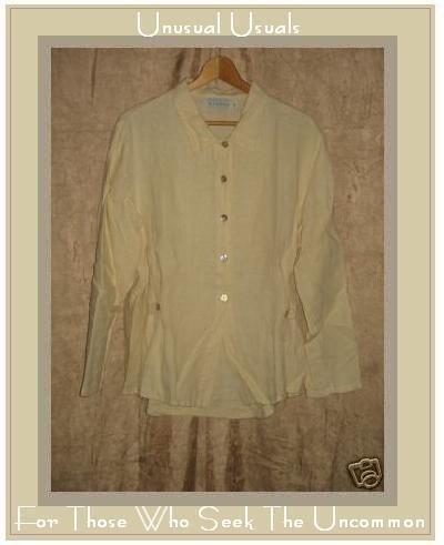 WILLOW Shapely Yellow Linen Button Shirt Top Medium M