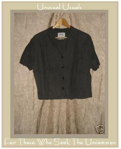 Flax by Jeanne Engelhart Bark Linen Button Shirt Top SMALL S