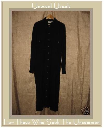 Putumayo Softest Black Rayon Weave Button Dress Large L