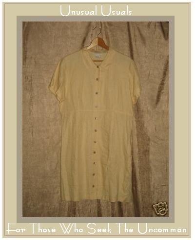 J. Jill Soft Yellow LINEN Shapely Button Dress Medium M