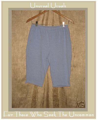 FLAX by Jeanne Engelhart Blue Cotton Lycra Shorts LARGE L