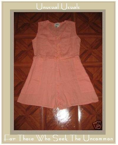 FLAX CORAL SHORTS SHIRT ROMPER JEANNE ENGELHART SMALL S
