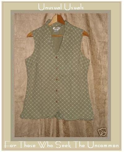 TALBOTS Green & White Sleeveless Button Shirt Top MEDIUM M