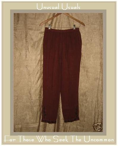 CUT LOOSE Leaf Trimmed Berry Red Linen Pants Medium M
