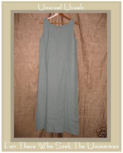 SWEET JESSIE Long Blue LINEN Dress Medium Petite MP