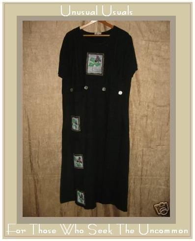 FOCUS Boutique Long Black Painted Linen Dress Large L