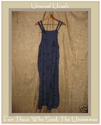 PUTUMAYO Long Leafy Blue Rayon Jump Dress Small S
