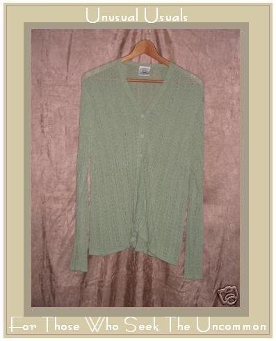 LAURA ASHLEY Soft Leafy Green Button Cardigan Sweater LARGE