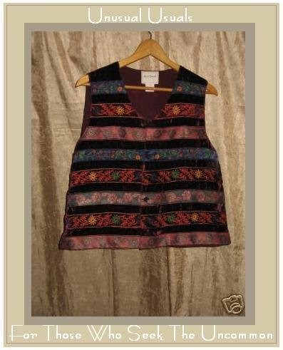 APRIL CORNELL Rayon Velvet Patchwork Vest Size Medium M