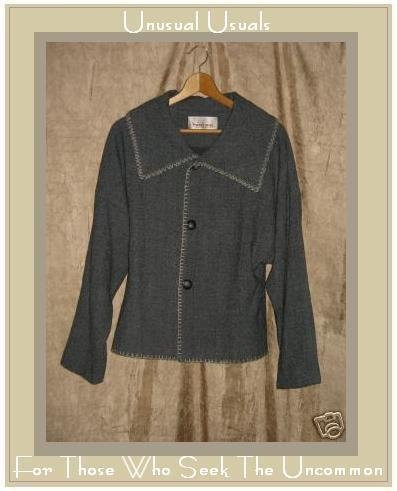 POSH BOY Gray Wool Lined Button Jacket Coat Small Medium S M