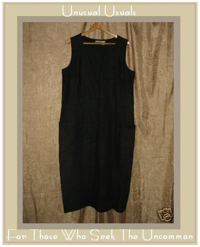 CHICO'S DESIGN Long Black LINEN Jumper Dress Size 2 MEDIUM M LARGE L