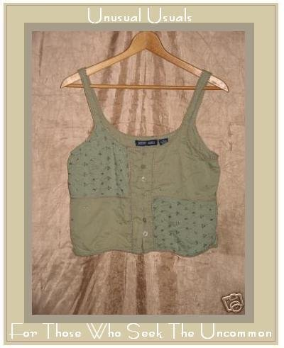 COTTON WORKS Cute Woven Tank Top Button Shirt Medium M
