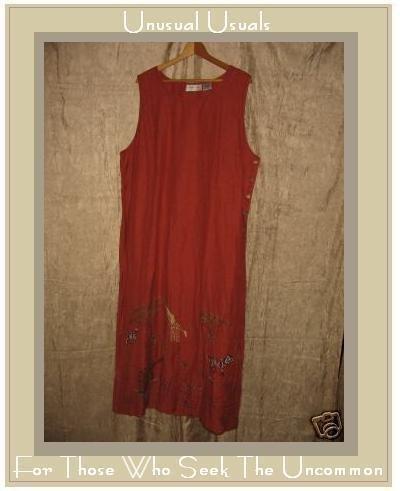 LEMON GRASS Long Terracotta Tunic Dress w Wild Trim 2X