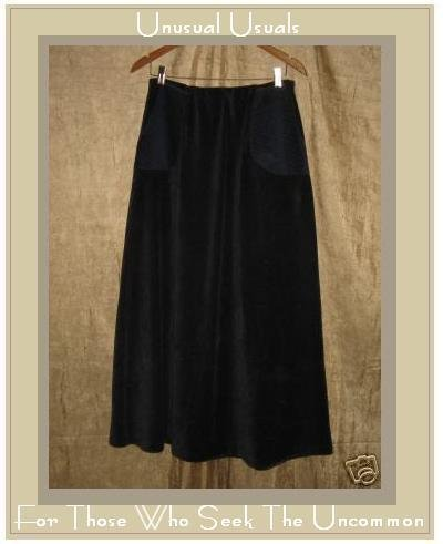 KINDRED SPIRIT Long & Full Blue Corduroy Velour SKIRT MEDIUM M