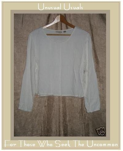 PUTUMAYO Soft White Rayon Boxy Pullover Shirt Top MEDIUM M
