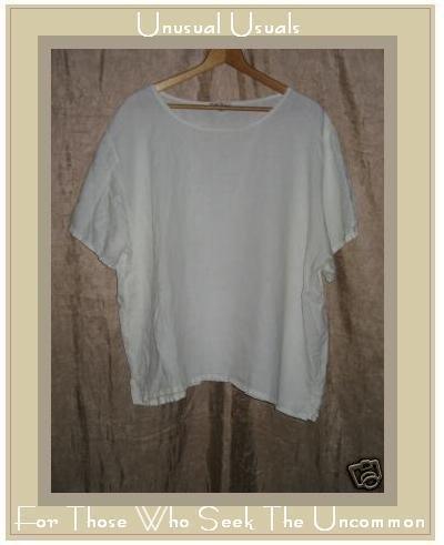 EARTH TONES Alywear Aly Wear White LINEN Shirt Top 2X