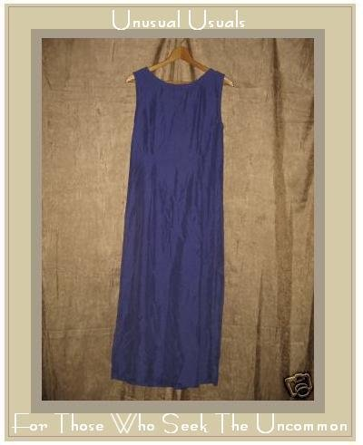April Cornell Long Blue Silk Shapely Slip Dress Large L