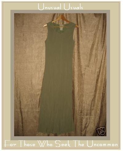 April Cornell Long Bias Cut Sage Green Dress Lined LARGE L
