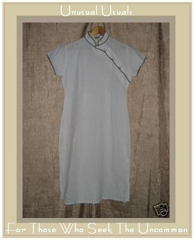 UPHILL White Cotton Vintage Style Asain Dress Small S