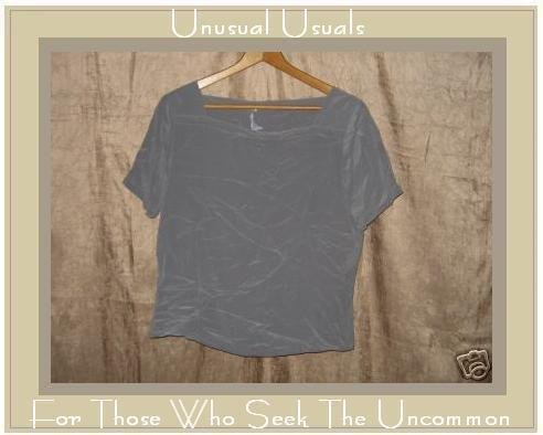 Anna & Frank Soft Gray Silk Pullover Shirt Top Medium M