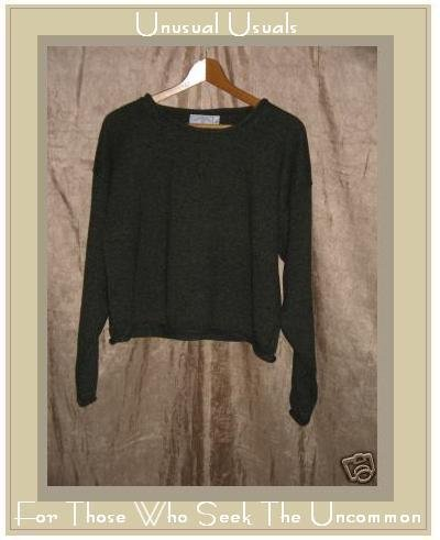 United Knitwear Cropped Green Cotton Sweater Large L