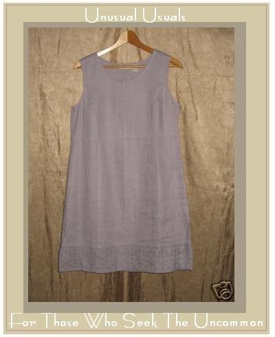 J. Jill Lavender LINEN Embroidered Hem Dress Small PS PETITE SMALL