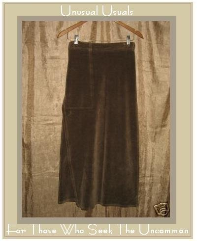 Flax by Jeanne Engelhart Brown Cotton Velour Skirt SMALL S