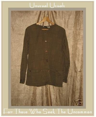 Putumayo Brown Pictograph Button Jacket Shirt Top Medium M