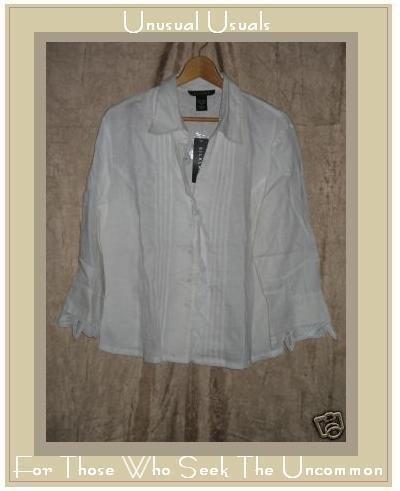 NEW SILKLAND White LINEN Battenburg Lace Shirt Top SZ12