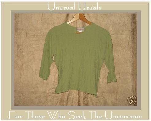 SOLITAIRE Leafy Green Fitted Pullover Shirt Top Medium M