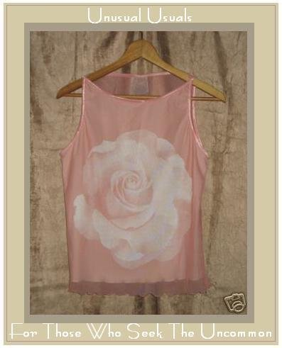 NEW CLEA PINK LINED ROSE SLEEVELESS SHIRT TOP SIZE SMALL S