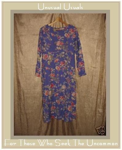 APRIL CORNELL Long Soft Blue Floral Dress X-Small XS