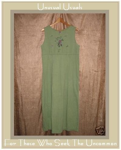 APRIL CORNELL Soft Spring green corduroy dress Medium M