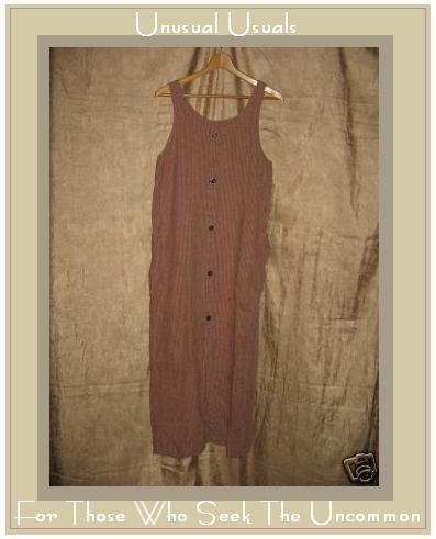 FLAX by Jeanne Engelhart Long Plaid LINEN Jump Dress SMALL S