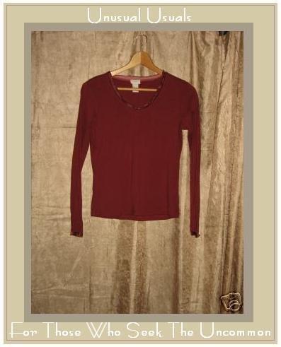 J. JILL Velvet Trim Cotton Knit Shirt Top X-Small XS