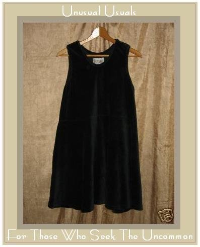 R-Clan Black Velour Dress Jeanne Engelhart Flax Medium M