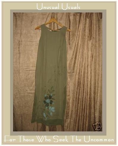 PURSUITS LTD Long Sage Floral Silk dress Size 4 Petite P