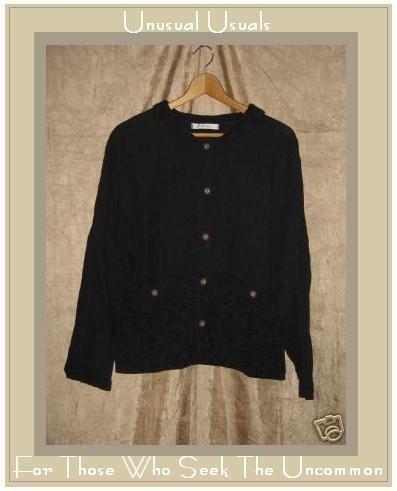 ALYWEAR Aly Wear Black LINEN Button Jacket Shirt Top