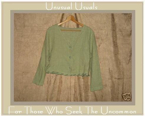 Funky Green LINEN Boutique Button Jacket Shirt Top Small S Medium M