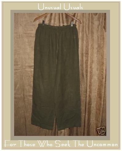 J. JILL Green LINEN Drawstring Pants Medium Petite MP