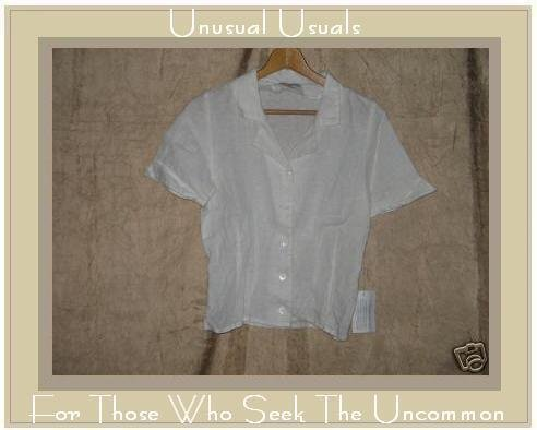 NEW SOLITAIRE White LINEN Button Shirt Top X-Small XS