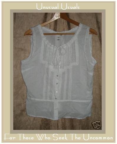 H&M Lacey White Boho Hippy Shirt Top EUR 44 US 14 Medium M Large L