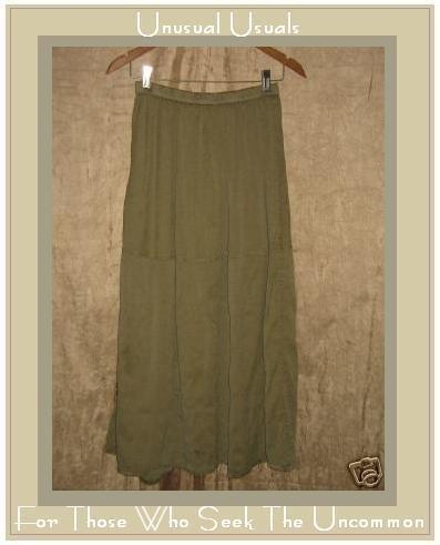 FLAX Jeanne Engelhart Long & Full SAGE SILK Skirt Small S