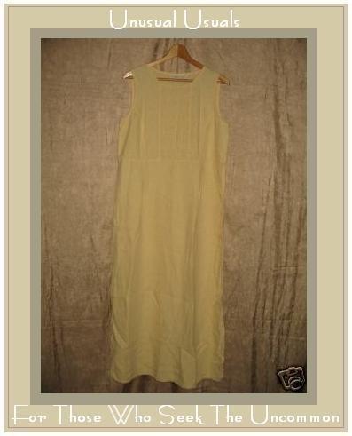J. Jill Long Buttery Yellow LINEN Pin Tuck Dress Medium M