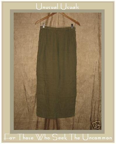 FLAX by Jeanne Engelhart Green & Tan LINEN Pants Small S