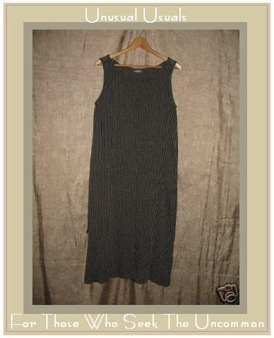 EILEEN FISHER Earthy Striped RAYON LINEN Tunic Dress Medium M