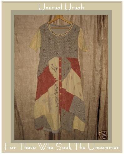 Funky Button Down Boho Hippy Patchwork Dress Small S Medium M