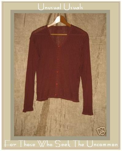 Gata Gabola Soft Brick Red Button Cardigan Sweater Small S Medium M