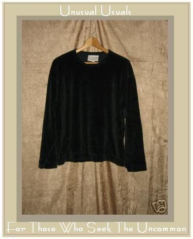 R-Clan by Jeanne Engelhart Black Velour Shirt Top Small S