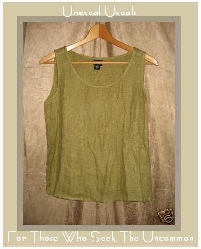 EILEEN FISHER Green LINEN Pullover Tank Shirt Top Shell Small S